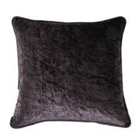 "Scarpa Crushed Velvet Pair Of 18"" (45cm) Cushion Covers Black Mink Silver Indigo - Kellyuk"
