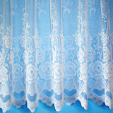 Sally Floral White Scalloped Bottom Net Curtain - SOLD BY THE METRE. In 11 Drops - Kellyuk