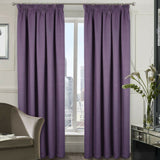 Mauve Blackout Thermal Woven Textured Pair Of Curtains In Tape Top Or Ring Top - Kellyuk