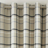 Woven Tartan Large Check Ring Top Eyelet Lined Curtains On Natural Base Colour - Kellyuk