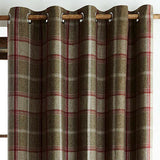 LUXURY CHECK Highland Ring Top Eyelet Lined Curtains Brushed Faux WOOL Effect - Kellyuk