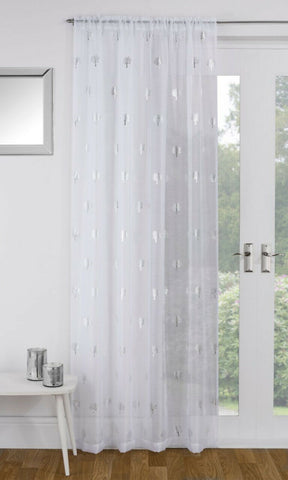 Birch Tree Glittery Metallic Linen Look Rod / Slot Top Net Single Voile Panel - Kellyuk