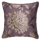 METALLIC FLORAL MAUVE PURPLE RING TOP EYELET READY MADE LINED JACQUARD CURTAINS - Kellyuk