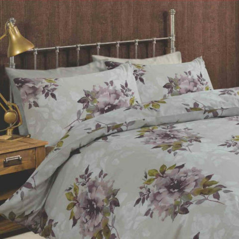 Dark Wonder Floral Duvet Cover Set On Grey Base With Pink Or Violet Flowers - Kellyuk