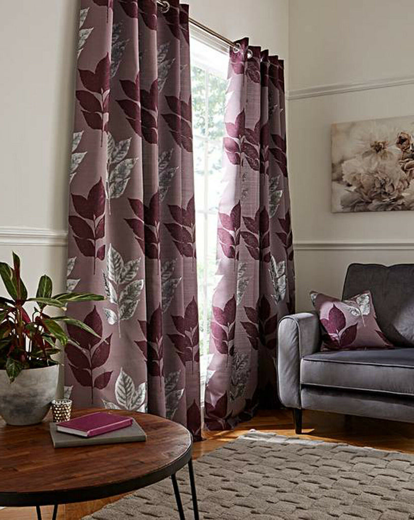 Blakely Metallic Bold Leaf Ring Top Eyelet Fully Lined Machine Washable Curtains