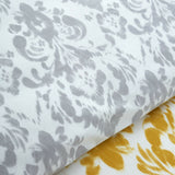 Catherine Lansfield Damask Ochre Reversible Duvet Cover Set With Grey Reverse - Kellyuk