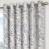 Floral Patterned Contemporary Ring Top Eyelet Curtains In Blue, Green Or Heather - Kellyuk