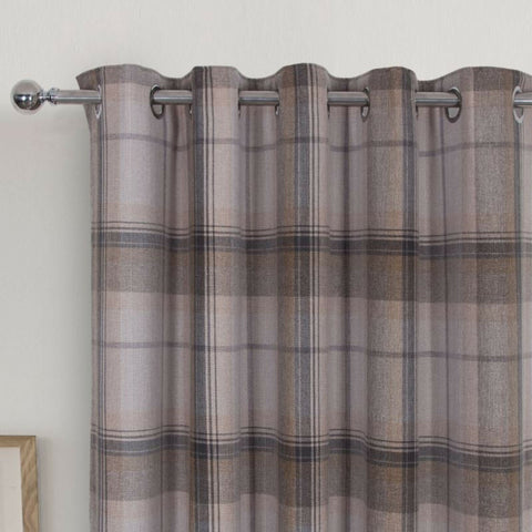 Highland Grey Multi Tartan Checked Blackout Curtains With Ring Top Eyelet Header - Kellyuk