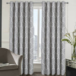 Toronto Pair Of Easy To Hang Ring Top Curtains With Geometric Jacquard Design - Kellyuk