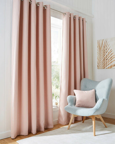 Blackout Textured Woven Linen Effect Pair Of Ring Top Soft Pink Thermal Curtains - Kellyuk