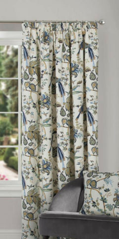 Floral Print Half Panama Door Curtain With Tape Top Header In Blue Or Terracotta - Kellyuk