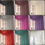 Plain Dyed Woven Voile Net Swag Scarf In 3 Or 5 Metres Wide 14 Modern Colours - Kellyuk