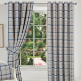 Hudson Blue Multi Checked Tartan Ring Top Pair Of Lined Curtains Highland Design - Kellyuk