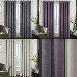 Berlin Blackout Thermal Ring Top Woven Textured Curtains - Bedroom & Livingroom - Kellyuk
