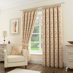 Sherwood Floral Leaf Pair Of Pencil Pleat Lined Curtains For Bedroom Living Room - Kellyuk