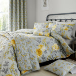 Yellow Cotton Rich 200 TC Floral Reversible Duvet Cover Bedding Machine Washable - Kellyuk