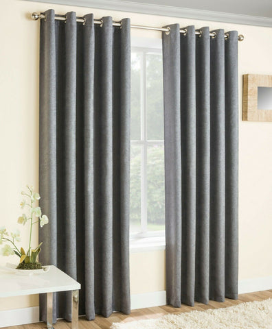 VOGUE BLOCK OUT THERMAL PAIR OF WOVEN TEXTURED RING TOP / EYELET MODERN CURTAINS - Kellyuk