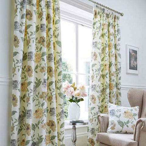 Felicity Floral Print Pencil Pleat Tape Top Curtains On 100% Cotton Face Fabric - Kellyuk