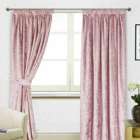 BLUSH PINK CRUSHED VELVET PAIR TAPE TOP READY MADE CURTAINS - MACHINE WASHABLE - Kellyuk