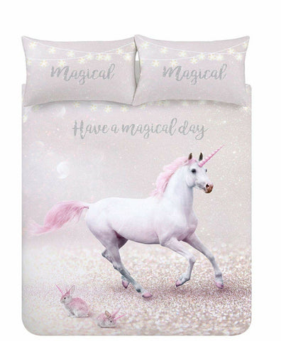 Catherine Lansfield Enchanted Unicorn Pink Easy Care New Duvet Cover Set - Kellyuk