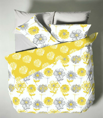 Catherine Lansfield Banbury Yellow Multi Floral Duvet Cover Set * REVERSIBLE * - Kellyuk