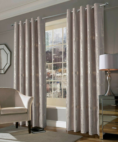 Margo Champagne Gold Metallic Velvet Ring Top Curtains With Thermal Interlining - Kellyuk