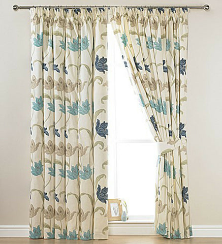 Blue Multi Floral Cotton Half Panama Curtains On Cream Base With FREE Tie Backs - Kellyuk