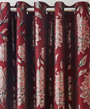 Metallic Floral Modern Living Room Red Curtains With Ring Top Eyelet Header - Kellyuk