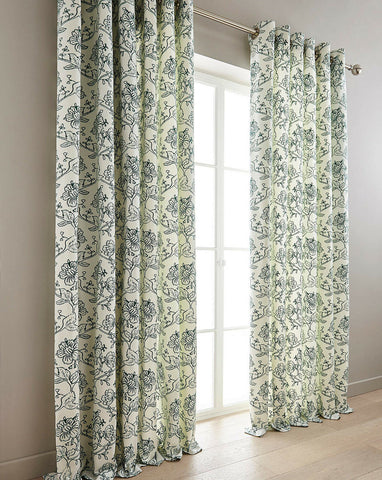 Chloe Floral Print Fully Lined Ring Top Eyelet Curtains In Blue Green Grey Wine - Kellyuk