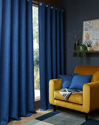 Blackout Textured Woven Linen Effect Pair Ring Top Navy Blue Thermal Curtains - Kellys Soft Furnishing