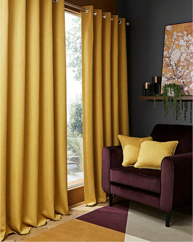 Blackout Textured Woven Linen Effect Pair Of Ring Top Ochre Thermal Curtains - Kellys Soft Furnishing
