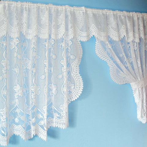 Floral Lace New Net Window Curtain Set With Pelmet & Tie Backs In White Or Cream - Kellyuk