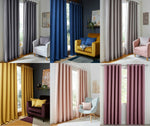 Hugo Woven Blackout Textured Linen Effect Pair Ring Top Eyelet Thermal Curtains - Kellyuk