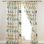 "KINSALE BLUE & CREAM FLORAL COTTON LINED 3"" TAPE TOP CURTAINS + FREE TIE BACKS - Kellyuk"
