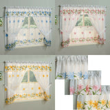 Daisy White Kitchen Window Sets With Floral Embroidery Inc Tie Backs & Valance - Kellyuk
