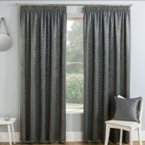 Gemini Thermal Blockout Tape Top Pair Of Curtains With Metallic Motif Star Print - Kellyuk