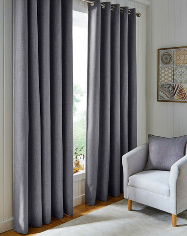 Blackout Textured Woven Linen Effect Pair Ring Top Grey Silver Thermal Curtains - Kellyuk