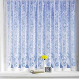 Andrea Floral White Lace Net Curtains With Scalloped Bottom - SOLD BY THE METRE - Kellyuk