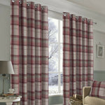 Warrington Tartan Checked Ring Top Eyelet Blackout Lined Curtain In Grey Or Red - Kellyuk