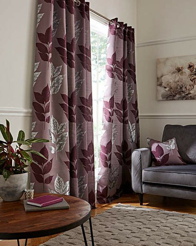 Blakely Metallic Bold Leaf Ring Top Eyelet Fully Lined Machine Washable Curtains - Kellyuk