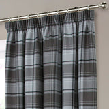 Shetland Highland Faux Wool Tape Top Curtains - Tartan Checked Brushed Faux Wool - Kellyuk