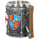 English Shield Middle Ages Beer Ale Tankard 13.5cm With Rivets Chain Mail Design - Kellyuk