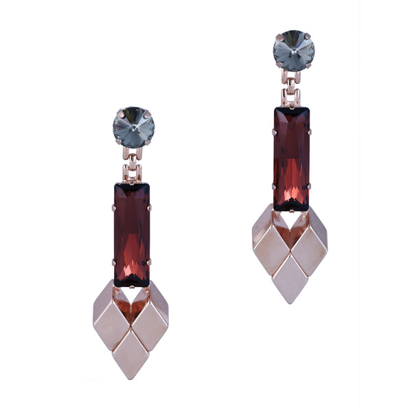 Crystal Drop Earrings In Red Gold - Akollekt