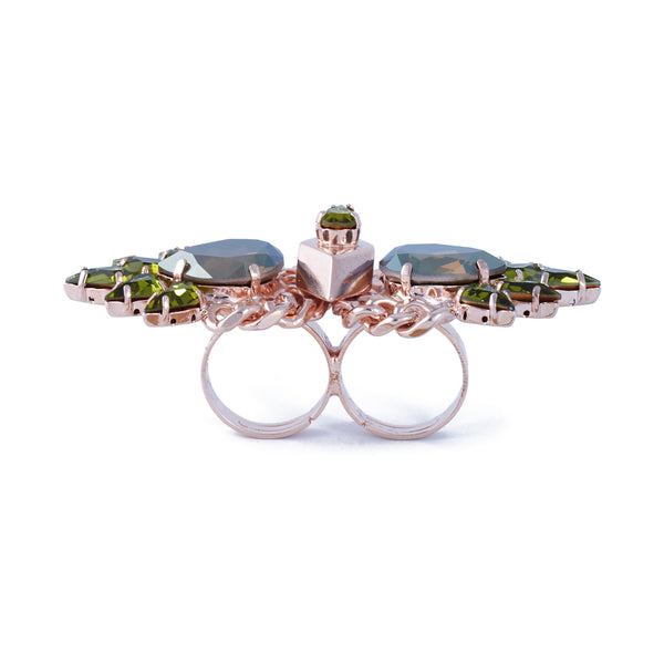 Olive Crystal Double Ring - Akollekt - 3