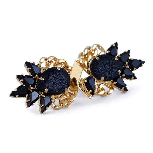 Leather And Crystal Double Ring In Gold - Akollekt - 2