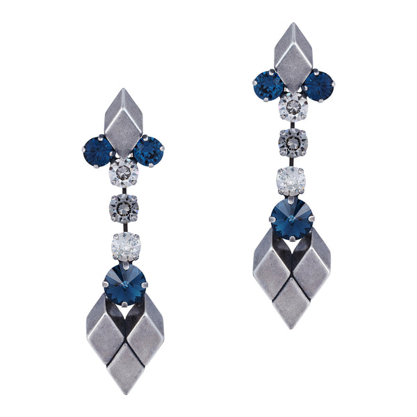 Crystal Mix Drop Earrings In Silver - Akollekt - 1