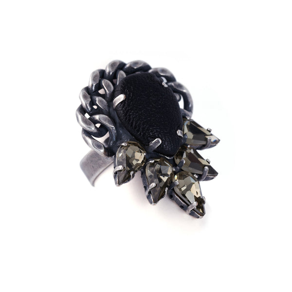 Leather And Crystal Ring - Akollekt - 2
