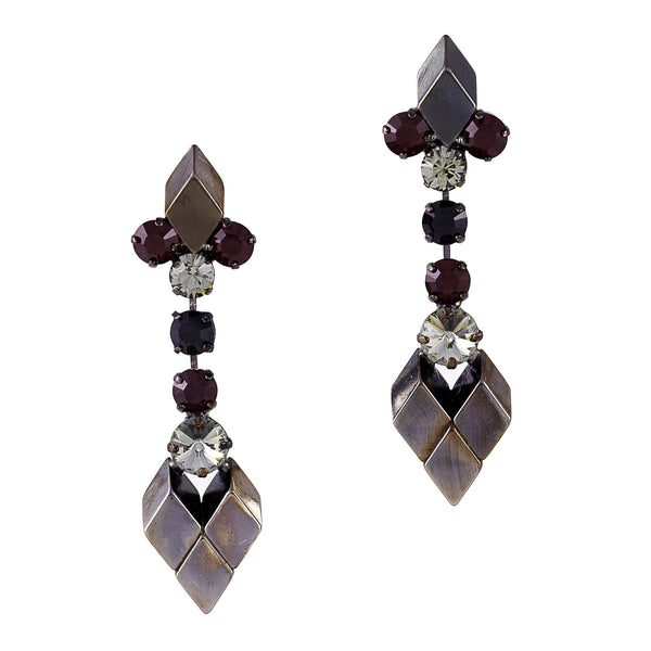 Crystal Mix Drop Earrings In Black - Akollekt
