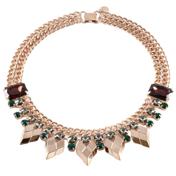 Burgundy And Emerald Crystal Necklace - Akollekt - 1
