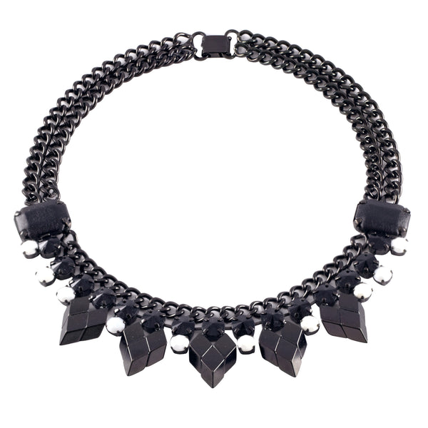 Black and White Crystal And Leather Necklace - Akollekt - 1